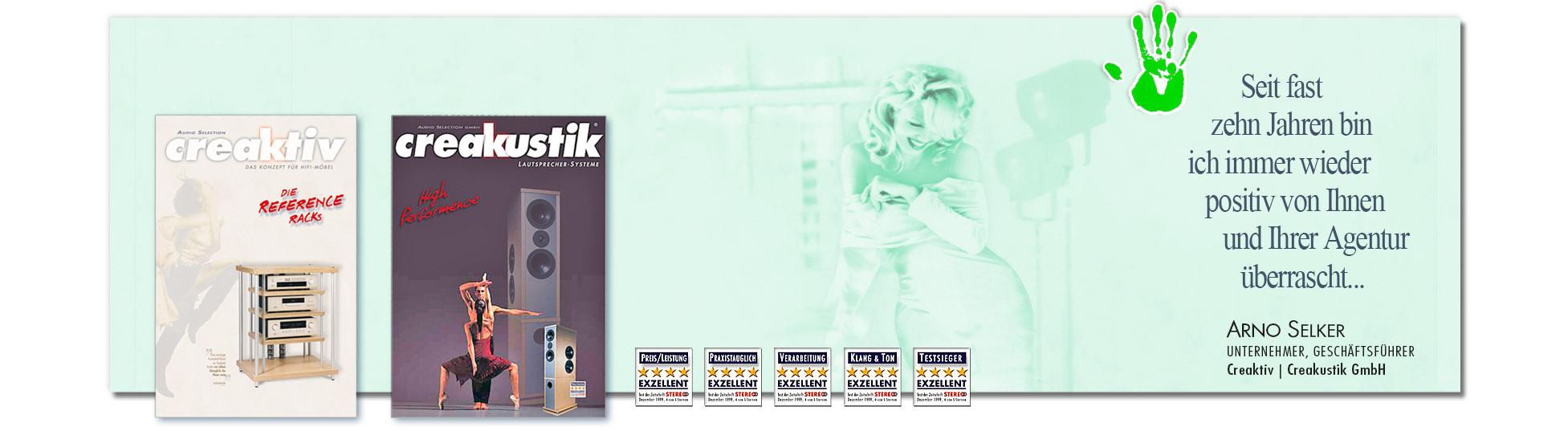 Zufriedener Kunde: CREAKTISTIK - CREAKTIV wegen erfolgreiche Kampagnen derSchoellmann & Sie ist Werbeagentur, Marketingagentur, Gender Marketing, Webdesign, Personal Marketing, Employer Branding