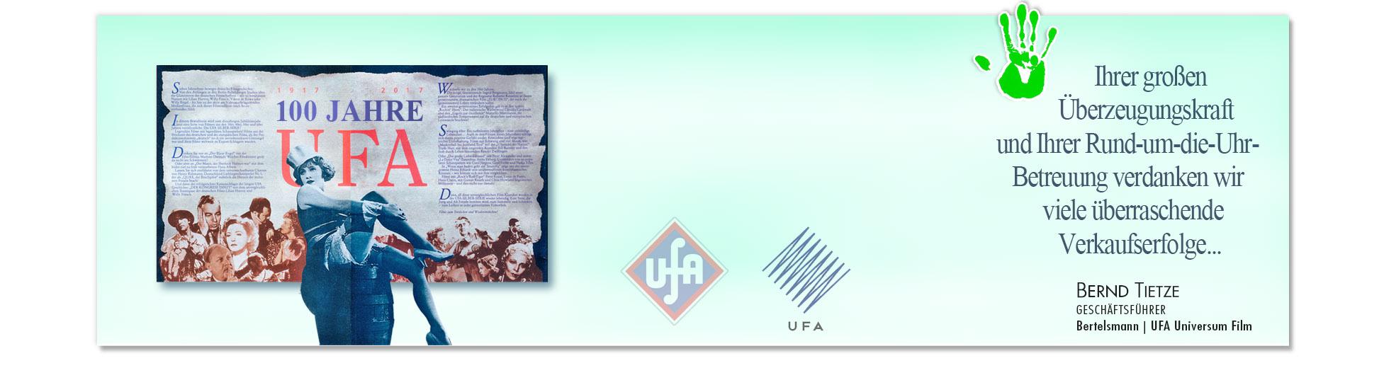 Zufriedener Kunde: BERTELSMANN - UFA wegen erfolgreiche Kampagnen derSchoellmann & Sie ist Werbeagentur, Marketingagentur, Gender Marketing, Webdesign, Personal Marketing, Employer Branding